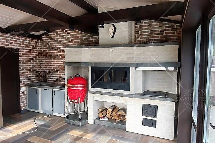 Гриль-домик восьмигранный №5 Д=4 м (с куполом и дымоходом в комплекте), фото 4
