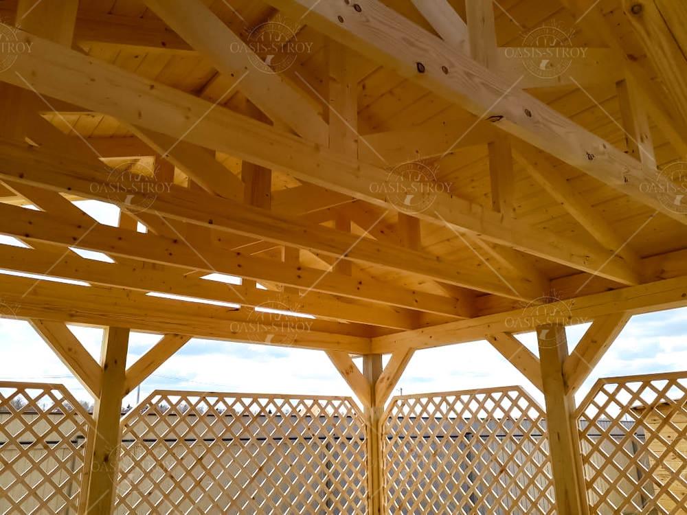 Двухскатный деревянный навес для сада 4х5м, фото 2