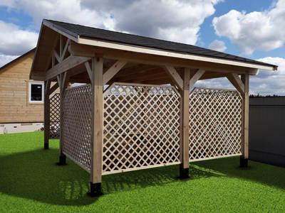 Двухскатный деревянный навес для сада 4х5м