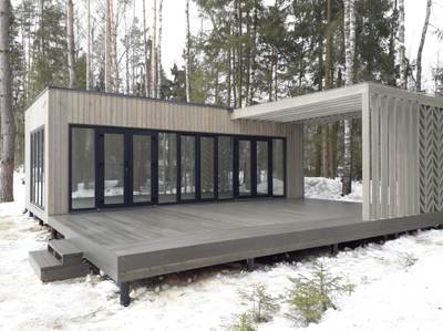 Прямоугольная панорамная беседка с террасой 8х8,6м