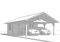 Прямоугольный деревянный навес с хозблоком для авто 6х8м, фото 6