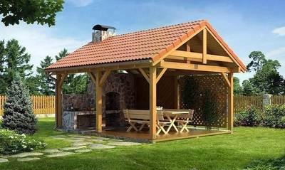Беседка для дачи с двухскатной крышей и мангалом
