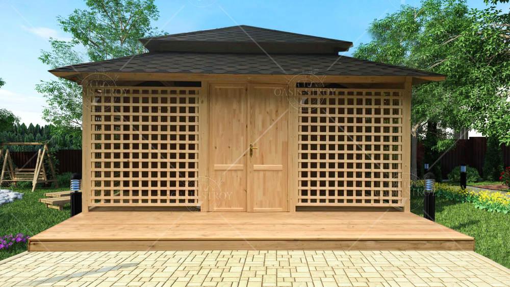 Японская полузакрытая беседка с террасой и хозблоком, фото 3