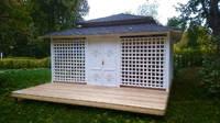 Японская полузакрытая беседка с террасой и хозблоком, фото 4