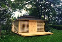 Японская полузакрытая беседка с террасой и хозблоком, фото 5