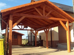 Двухскатный деревянный навес №3