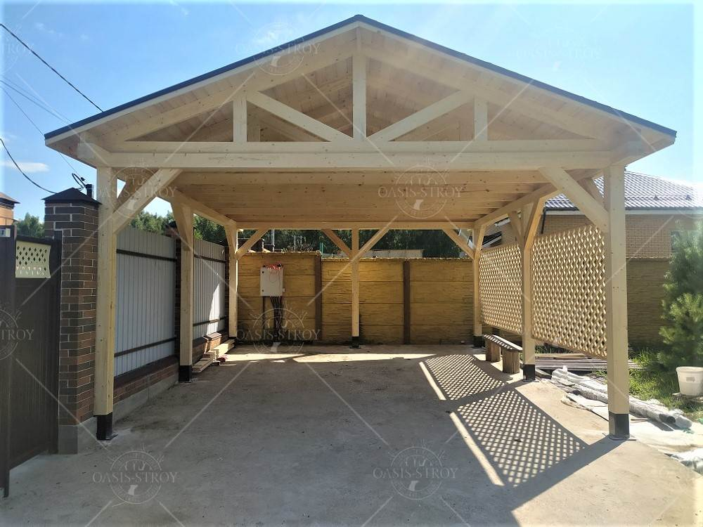 Двухскатный деревянный навес 4х6м, фото 4