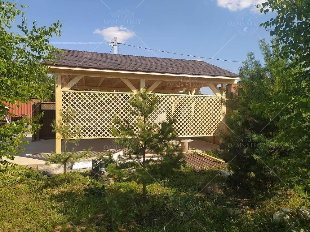 Двухскатный деревянный навес 4х6м, фото 3