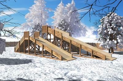 """Зимняя деревянная горка """"Горка 1"""""""