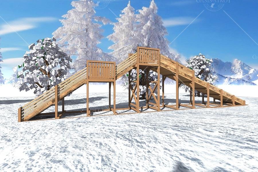 "Зимняя деревянная горка ""Ледяная фантазия"" 3м, фото 2"