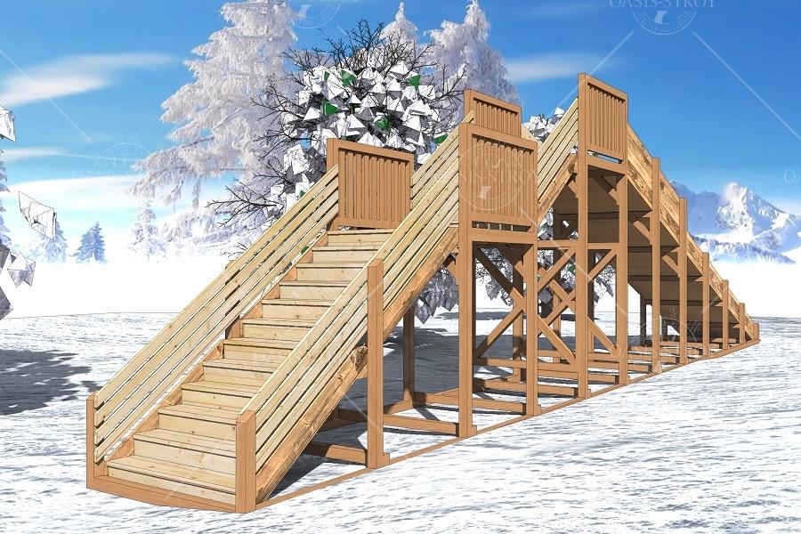 "Зимняя деревянная горка ""Ледяная фантазия"" 3м, фото 3"