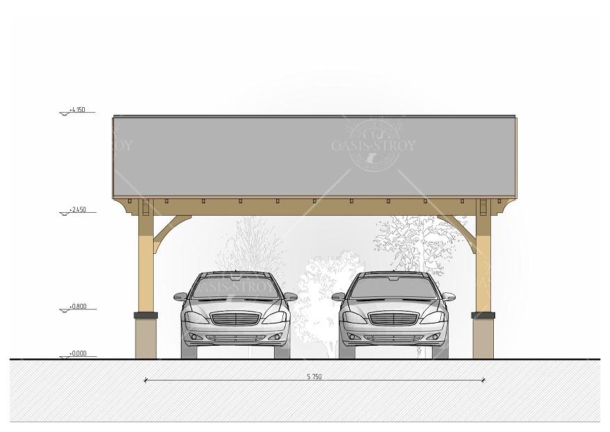 Двухскатный навес для авто 5х6 м , фото 6