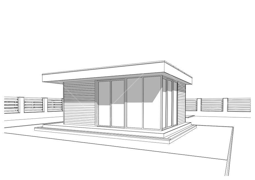 Большой панорамный офис для дачи 4,3х5,3м, фото 8