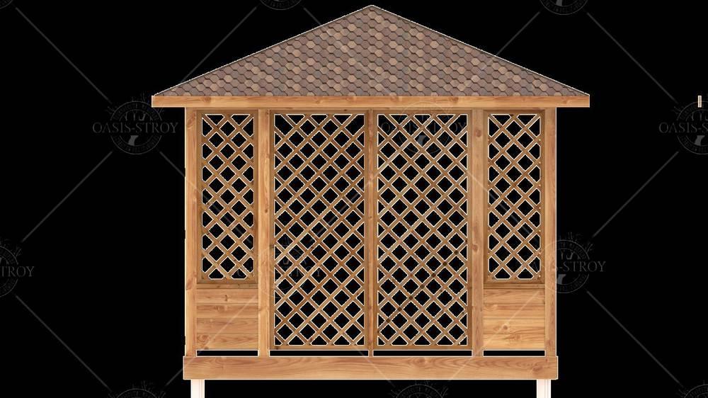 Прямоугольная Беседка-пергола 3x5м со входом 1,8м, фото 10