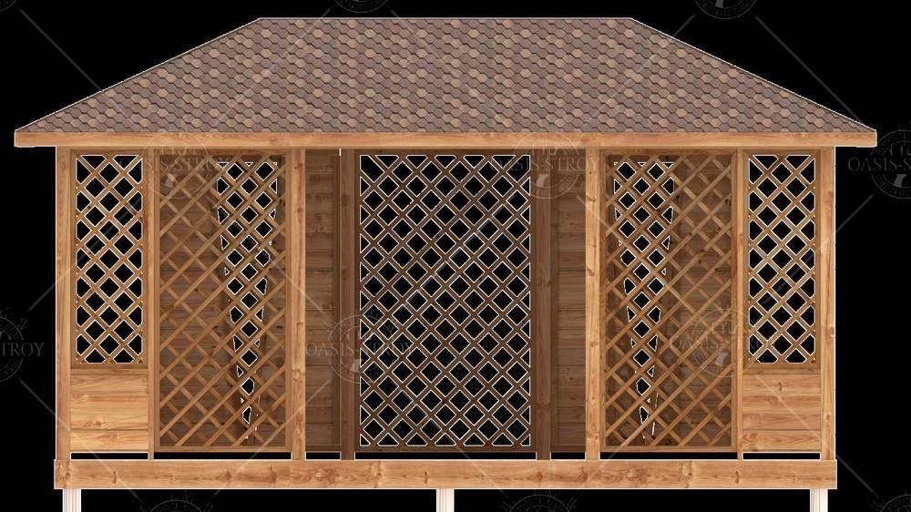 Прямоугольная Беседка-пергола 3x5м со входом 1,8м, фото 11