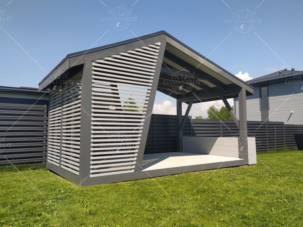 Прямоугольная асимметричная дизайнерская беседка 3х5 м, фото 6