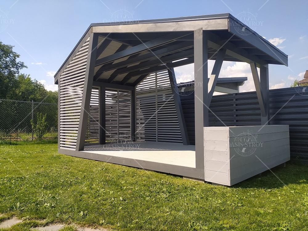 Прямоугольная асимметричная дизайнерская беседка 3х5 м, фото 4