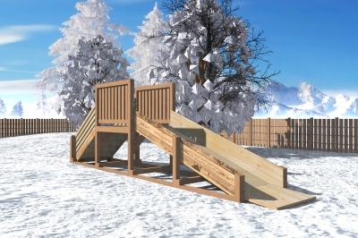 """Зимняя деревянная горка """"Снежинка"""" 1м"""