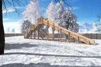 """Зимняя деревянная горка """"Снежинка"""" 3м"""