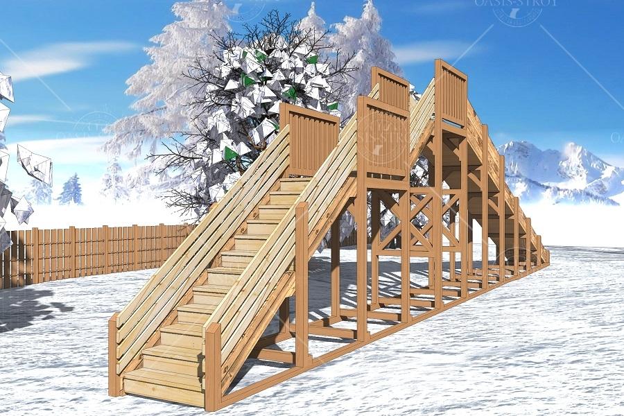 """Зимняя деревянная горка """"Снежинка"""" 3м, фото 2"""