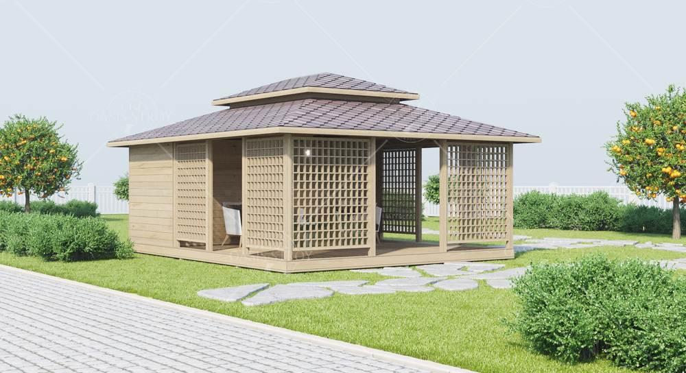 Японская беседка 5 х 6 м (с хоз блоком), фото 2